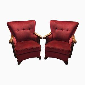 Poltrone Art Deco alate in velluto rosso, anni '30, set di 2