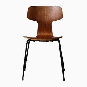 Vintage Teak Hammer Chairs by Arne Jacobsen for Fritz Hansen, 1970s, Set of 4