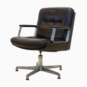 Italian Executive Leather Swivel Chair from Vaghi, 1960s