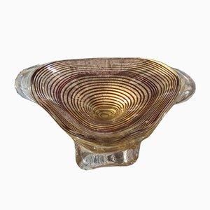 Cuenco italiano Mid-Century moderno de cristal de Murano de Barovier, años 50
