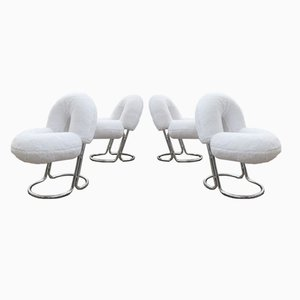 Italian Steel & Hairy Fabric Donut Chairs, 1970s, Set of 4