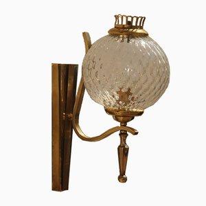 Mid-Century Italian Murano Glass & Brass Gold Sconce, 1950s