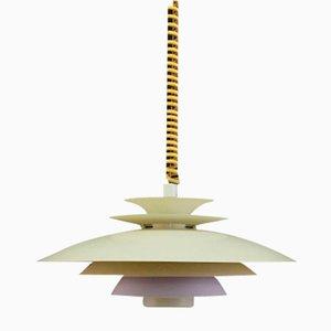 Lámpara colgante danesa vintage en blanco roto, años 70