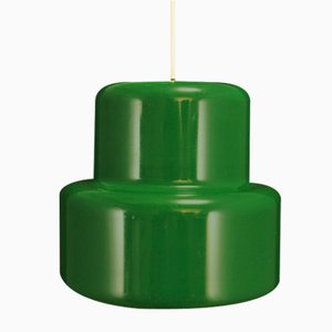 Lámpara de techo danesa verde de metal de Johannes Hammerborg para Fog & Mørup, años 70
