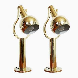 Eye Ball Brass Lamp, 1970s, Set of 2
