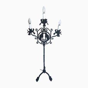 Vintage Italian Wrought Iron Floor Lamp, 1930s