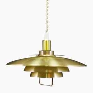 Danish Gold Metal Pendant Lamp, 1970s
