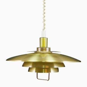 Lámpara colgante danesa de metal dorado, años 70