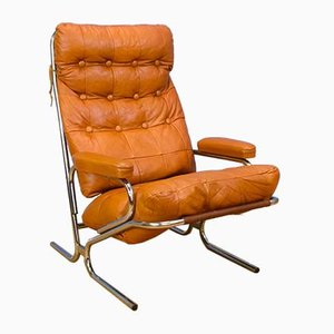 Mid-Century Retro Danish Tan Leather and Chrome Lounge Chair, 1970s