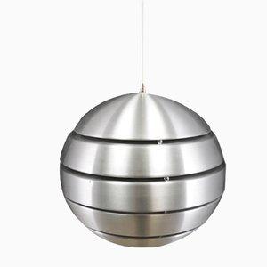 Lámpara de techo danesa vintage redonda de metal plateado, años 70