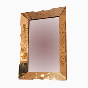 Französischer Vintage Spiegel mit Rahmen aus geätzter Bronze