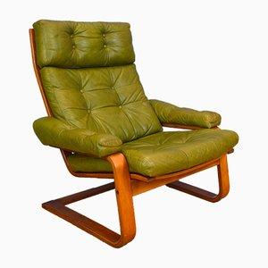Butaca noruega vintage de cuero verde y haya curvada, años 70