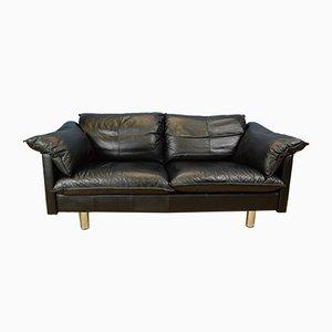 Schwarzes dänisches Vintage Sofa aus Büffelleder von Skalma, 1980er