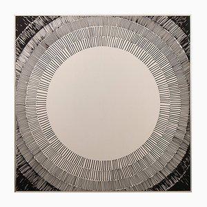 Espejo Op Art vintage cuadrado con diseño circular negro, años 70