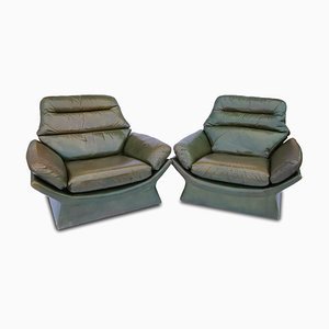 Italian Green Leather Armchairs, 1970s, Set of 2