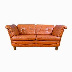 Sofá de dos plazas danés vintage de cuero curtido, años 70