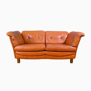 Vintage Danish Tan Leather 2-Seater Sofa, 1970s