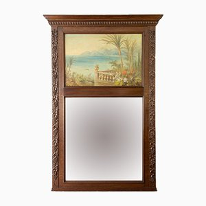 Antique Carved Oak Framed Mirror with Painting, 1920s
