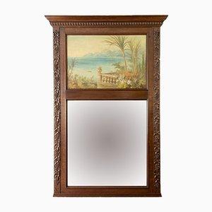 Specchio antico con cornice in quercia con dipinto, anni '20