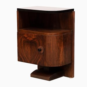 Art Deco Walnut Nightstands with Black-Lacquered Tops, 1930s, Set of 2