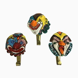 Brass Hooks with Ceramic Clown Heads, 1950s, Set of 3