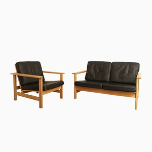 Oak 2-Seat Sofa and Armchair by Søren Holst for Fredericia, 1980s, Set of 2