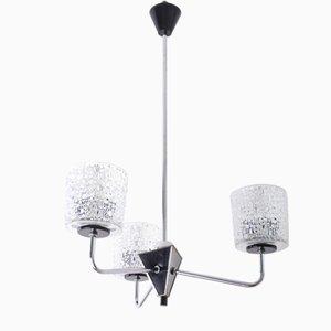 Lámpara de araña Mid-Century de vidrio, años 50