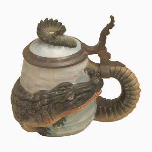 Crocodile Bisque Porcelain Beer Mug, 1950s