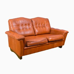 Mid-Century Danish Patinated Tan Leather 2-Seater Sofa, 1960s