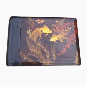 Vintage Black Lacquered Wooden Photo Album with Fish Motif, 1960s