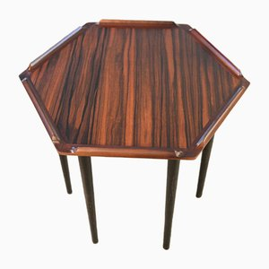 Small Danish Rosewood Hexagonal Side Table, 1960s