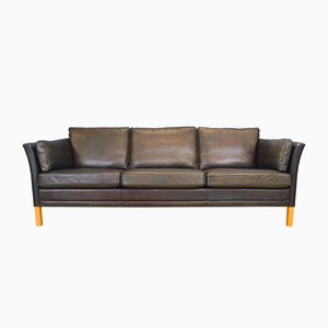 Mid-Century Danish Black Leather 3-Seater Sofa, 1970s