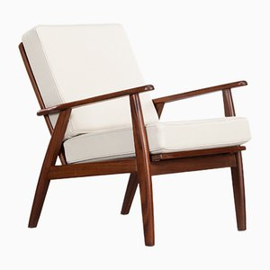 Teak Lounge Chair with Off-White Cushions, 1950s