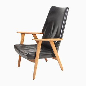 Vintage Leather & Oak Lounge Chair by Kurt Olsen for Slagelse Møbelværk, 1960s