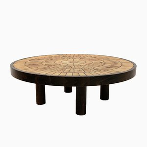 Ceramic Tile & Oak Coffee Table by Roger Capron, 1970s