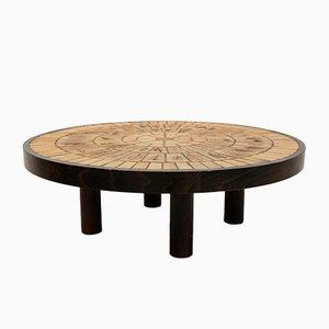 Tavolino da caffè in quercia e ceramica di Roger Capron, anni '70