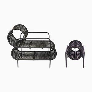 Elo Armlehnstuhl & Fußhocker aus Metall & Seil von Filipe Ramos