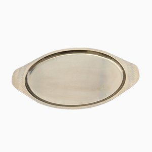 Italian Oval Gold Brass Hand-Embossed Brass Tray, 1970s