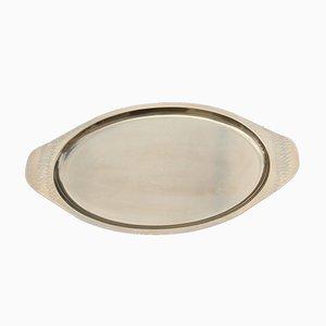 Ovales handgeprägtes italienisches Tablett aus Messing, 1970er