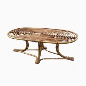 Mid-Century Italian Oval Bamboo Coffee Table from Bonacina, 1950s