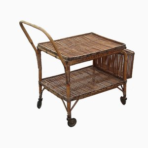 Mid-Century Italian Bamboo Bar Cart from Bonacina, 1950s