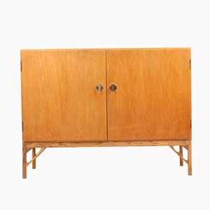 Danish Oak & Brass Cabinet by Børge Mogensen for FDB, 1950s