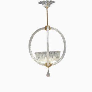 Mid-Century Italian Murano Art Glass Ceiling Lamp Lantern from Barovier, 1950s