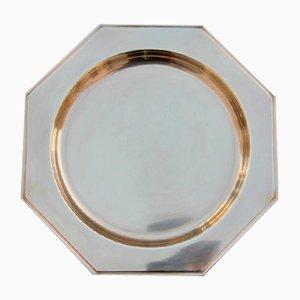 Bandeja hexagonal italiana de latón macizo, años 70