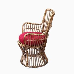 Chaise de Jardin Mid-Century en Bambou de Bonacina, 1950s