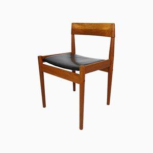 Sedie da pranzo in teak e pelle di Grete Jalk per Poul Jeppesens Møbelfabrik, anni '60, set di 6