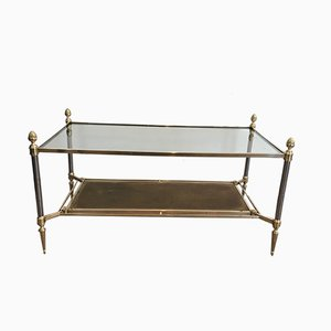 Brass & Brushed Steel Coffee Table with Leather & Glass Shelves from Maison Jansen, 1940s