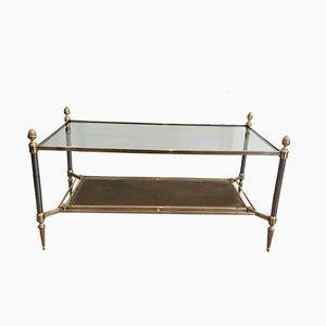 Mesa de centro de latón y acero cepillado con estantes de cuero y vidrio de Maison Jansen, años 40