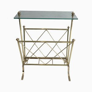 Neoclassical French Brass & Glass Magazine Rack from Maison Jansen, 1940s