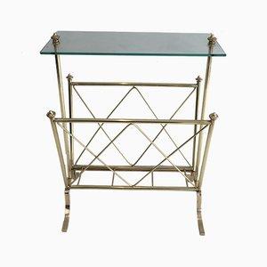 Revistero francés neoclásico de latón y vidrio de Maison Jansen, años 40